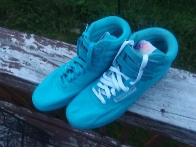 8512c24a0d1 Reebok Womens Classic Freestyle High Top aqua blue green NOS leather! size 8