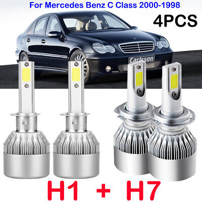H1 + H7 LED Headlight Kits Bulbs For Mercedes Benz C Class 2000-1998 Replace HID