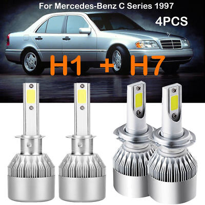 H1 H7 LED Headlight Kits Bulbs Hi/Lo For Mercedes Benz C Series 1997 Replace HID