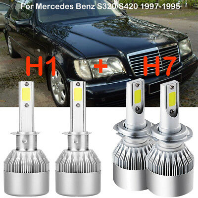 H1 H7 LED Headlight Kits Bulbs For Mercedes-Benz S320/S420 1997-1995 Replace HID