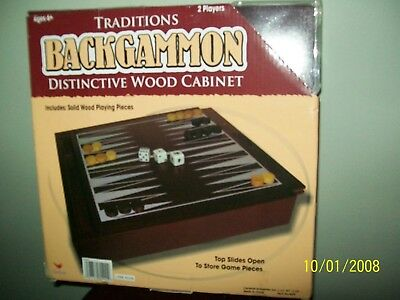 Backgammon in a wooden cabinet