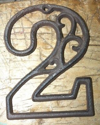Rustic BROWN Cast Iron Metal House Number Street Address 4 1/2 INCH Phone # 2