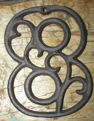 Rustic BROWN Cast Iron Metal House Number Street Address 4 1/2 INCH Phone # 8