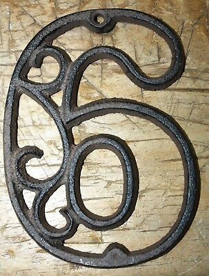 Rustic BROWN Cast Iron Metal House Number Street Address 4 1/2 INCH Phone # 6