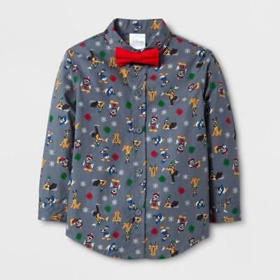 Disney Mickey Mouse Donald Duck Goofy Toddler Infant Bow tie Button Shirt
