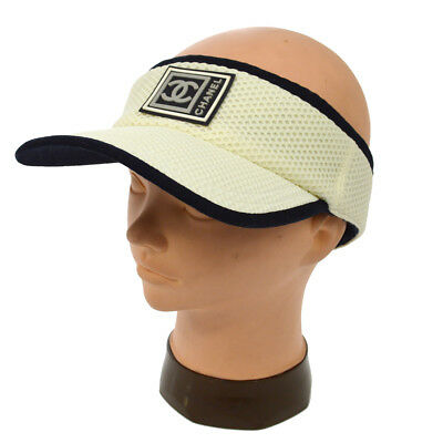 af2f0b54ed4 Authentic CHANEL Vintage Sports Line Sun Visor Hat Navy White Nylon A36964