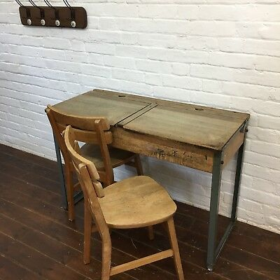 Industrial Vintage Childrens Wooden Original School Desk Set Chairs