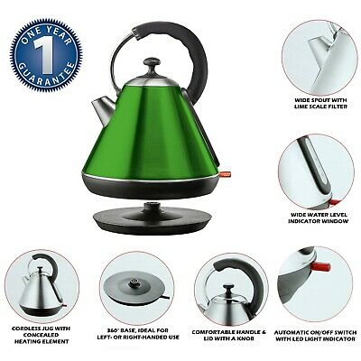 Premium 2200W Electric Cordless 1.8L Kettle Rapid Boil Washable Filter GREEN