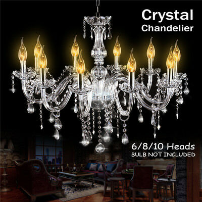 classique 6 feux pampilles lustre verre k9 cristal plafonnier lampe luminaire eur 50 00. Black Bedroom Furniture Sets. Home Design Ideas