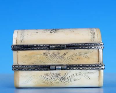 Fabulous Amazing Rare Old Chinese Ox Horn Carving China Jewelry Box Case WJ736