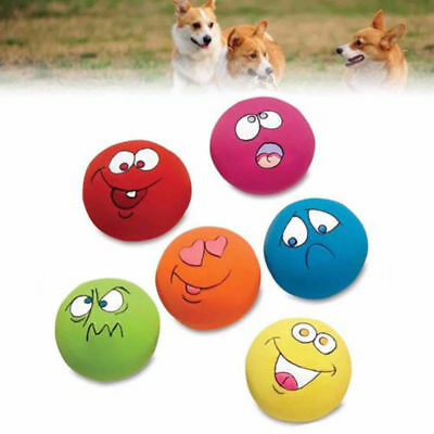 6 Pcs Zanies Latex Dog Puppy Play Squeaky Ball With Face Fetch Toy Bright