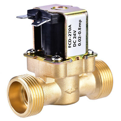 """3/4"""" N/C Normally Closed Brass Electric Solenoid Magnetic Water Valve DC24V HOT"""