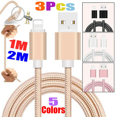 3Pcs 1M 2M Lightning Charging USB Data Charger Cable for Apple iPhone X 8 7 6 5