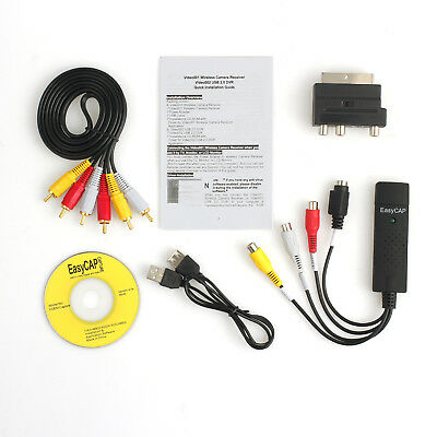 VHS To DVD USB 2.0 Audio Video Converter Video Capture Adapter RCA Cable Win10