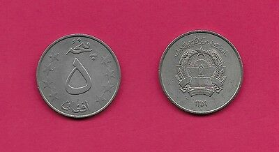Afghanistan Democratic Rep 5 Afghanis 1980 Vf-Xf National Arms,value At Center