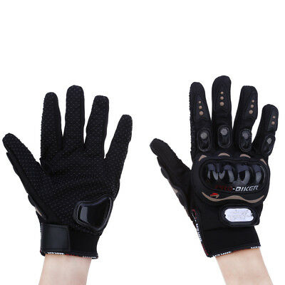 Pair Full Finger Motorcycle Gloves Outdoor Sports Riding Protective Gears Black