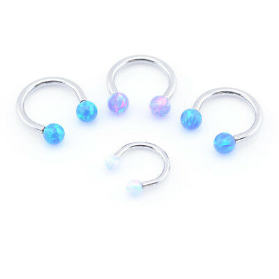 Opal Horseshoe Bar Circular Barbell Internally Threaded Lip Nose Septum Ear Ring