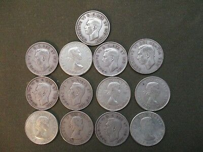 (13) SILVER Canadian Half Dollar Coin Lot 1940-1964 . 80%