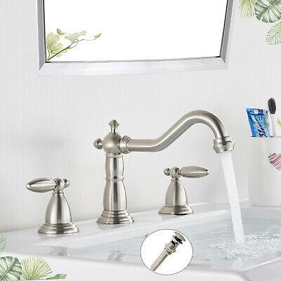 1Widespread Bathroom Basin Faucet Oil Rubbed Bronze LED Waterfall Sink Mixer Tap