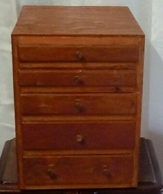 vintage wood 5 drawer box felt lined drawers handmade chest industrial rustic