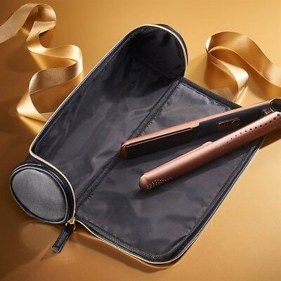 Avon Heat Resistant Pouch Mat & Storage for Straighteners GHD Etc Black & Gold