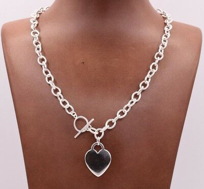 "17"" Heart Toggle Tag Oval Chain Charm Necklace Real Solid Sterling Silver 925"
