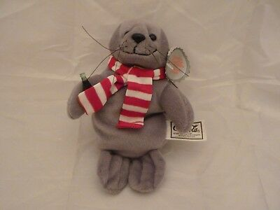 1997 Coca Cola Plush Bean Bag Seal in Scarf Style #0101 w/tags (8 inch)
