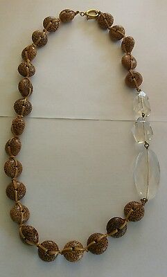 Vintage lucite and coconut shell bead necklace