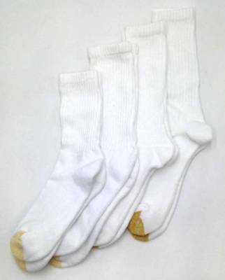 $45 GOLD TOE Mens 4-Pair Pack WHITE ATHLETIC CUSHION COTTON CREW SOCKS Size 6-12