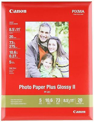 """Canon Photo Paper Plus Glossy II 8.5"""" x 11"""" 20 Sheets PP-301 (013803084047)"""