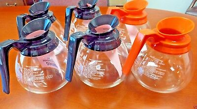 For BUNN~ Lot of 6 ~12Cup Commercial Coffee Pots/Decanters - 4 Black & 2 Orange