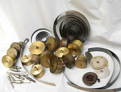 Vintage Job-Lot Of Various Brass & Metal Clock Spring Parts Most Encased Type