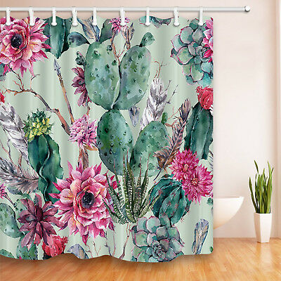 Fabric Shower Curtain Bath Waterproof Polyester 72x72 Cactus Flowers