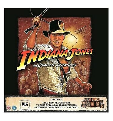 INDIANA JONES - THE COMPLETE COLLECTION BIG SLEEVE BLU RAY DVD + ART CARDS Gift
