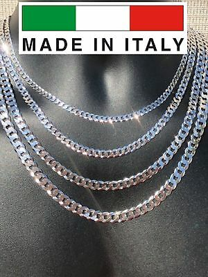 """Solid 925 Silver Men's Miami Cuban Link Flat Chain 5-8mm 18-30"""" Made In Italy!"""
