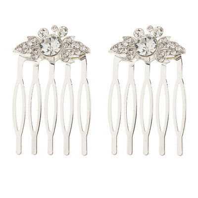 2Pcs Wedding Bridal Crystal Hair Pin Comb Jewelry Accessories Leaf Silver