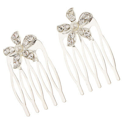 2Pcs Wedding Bridal Crystal Hair Pin Comb Jewelry Accessories Flower Silver
