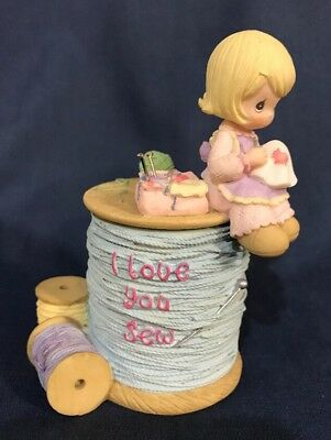 Precious Moments I Love You Sew 2 Pieces 2000 RARE Thread Spools Pins Sewing