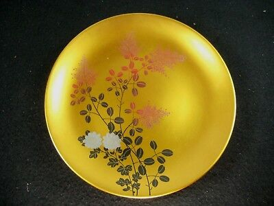 Japanese Vintage Gold Makie Red Lacquer Kashizara Wooden Serving Floral