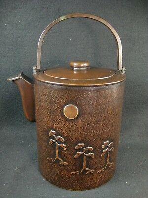 Vintage Taisho Era Signed Japanese Copper Tea Pot Tetsu Bin Pine Tree & Moon