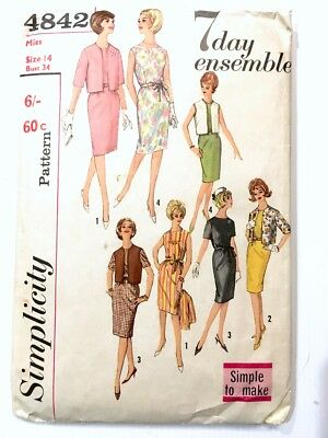 Vintage 1960s Simplicity Pattern 4842 Misses 7 Day Ensemble Dress Jacket etc. 14