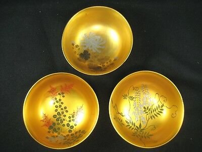 Japanese Vintage Set Of 3 Gold Makie Red Lacquer Kashizara Wooden Serving Bowls