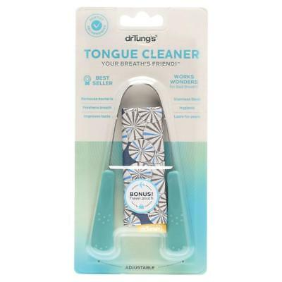 NEW Dr Tung's Tongue Cleaner Dental Hygiene Stainless Steel Scraper FREE Pouch