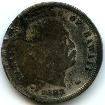 1883 Kingdom of Hawaii Silver Dime Corroded