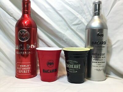 Bacardi Tin Set of 2 Bottle Sleeve /Holder 750ml Removable Top Empty W/bonus cup