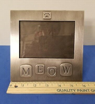 """PEWTER TONE METAL CATS KITTENS """"meow"""" & paw print PICTURE PHOTO FRAME"""