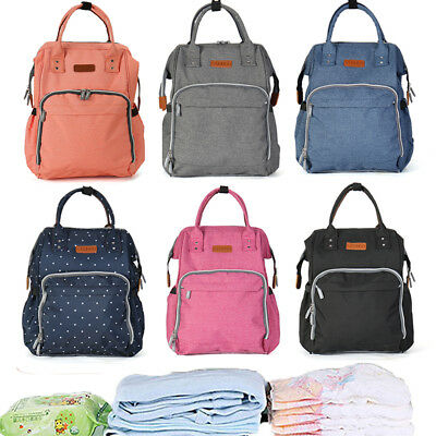 Multi-functional Mummy Changing Bags Backpack Baby Diaper Nappy Waterproof Gray