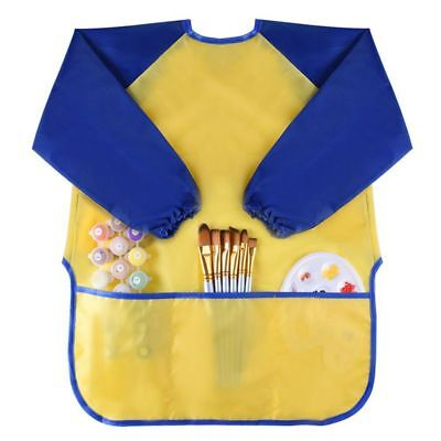 Childrens Kids Toddler Waterproof Play Apron Art Smock with 3 Roomy Pockets X4J2