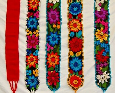 Faja Mexican Belt Embroidered Cotton Bright Red Chiapas 30x60 with ties 508