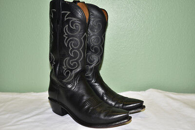 fac4f844255 LUCCHESE 1883 BLACK Snip Toe Men's Cowboy Boots 8.5 EE